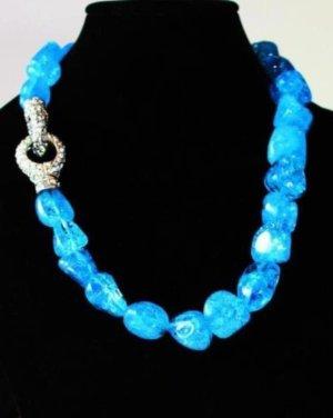Collar estilo collier azul neón-color plata