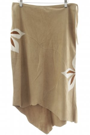 Prandina & Co. Gonna in pelle beige motivo floreale stile country