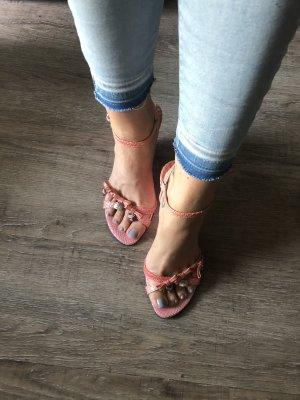 Prange Keilabsatz Sandaletten Wedges echt Leder Charms Koralle Gr. 38