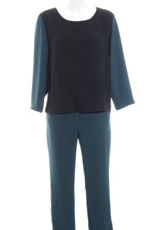 Prego Kostüm schwarz-petrol Colourblocking Street-Fashion-Look