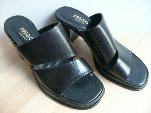 PREGO made in Italy stylishe Plateau Sandale mit Blockabsatz in Schwarz Leder 40