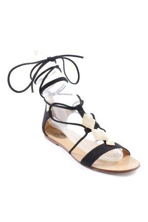 Prego Römer-Sandalen schwarz-goldfarben Casual-Look