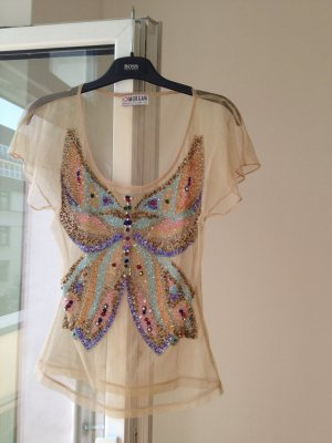 Premium Collection bestickt Butterfly Glitzer Perlen Top nude transparent shirt