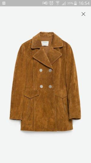 Premium Neuer Zara TRF Echtledermantel Leder Jacke Camel