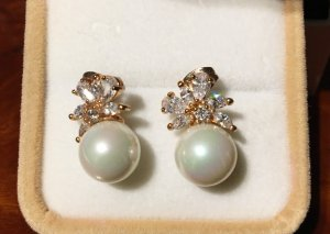 Pearl Earring natural white-light grey