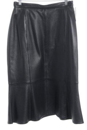 Prestige Elegance Falda de cuero negro estilo extravagante