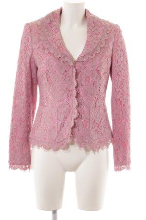 Prestige Elegance Smoking-Blazer rosa-altrosa florales Muster Spitzen-Optik