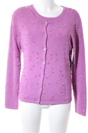 Prestige Elegance Gebreide twin set violet bloemen patroon romantische stijl