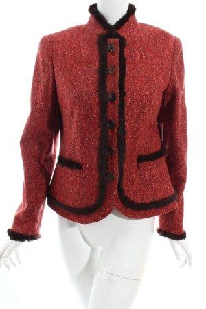 Elégance Paris Wolljacke rot-dunkelbraun extravaganter Stil