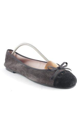 Pretty ballerinas Ballerinas mit Spitze schwarz-graubraun klassischer Stil