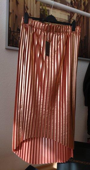 René Lezard Falda plisada color bronce-color rosa dorado Poliéster