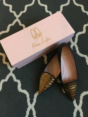 Pretty Loafers Bailarinas negro-color oro