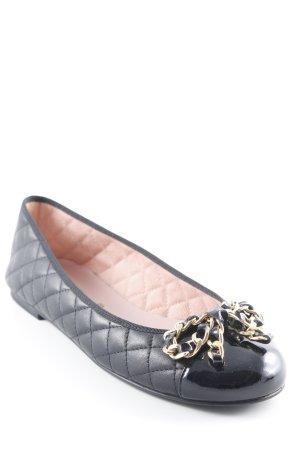 Pretty Loafers Lakleren ballerina's zwart quilten patroon romantische stijl