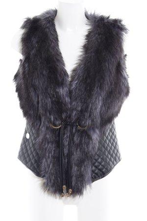 Preziosa Smanicato di pelliccia nero-blu scuro motivo trapuntato Paris-Look
