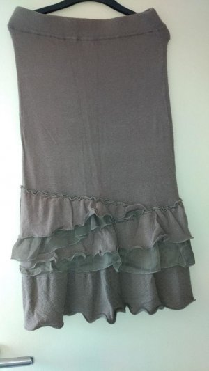 Preziosa Knitted Skirt grey brown-taupe cashmere