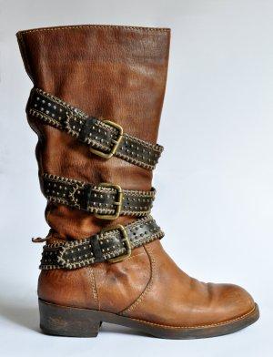 Primabase Stiefel Biker Boots Leder Vintage Look cognac Gr. 39 ehemaliger NP 395€