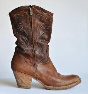 Primabase Botines estilo vaquero marrón-rojo amarronado