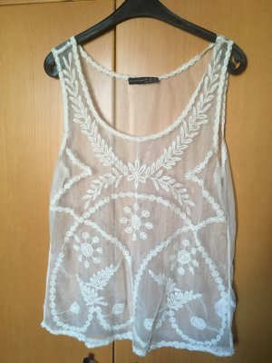 Primark Atmosphere Mesh Top Weiß Stickerei Gr. M 38