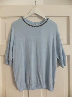 Primark/Atmosphere Shirt 42 40 Hellblau Perlenkragen NEU!