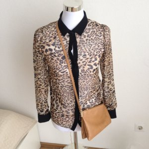 PRIMARK Chiffonbluse Langarm Bluse Leoparden 34 XS Animal Leo Schwarz Braun