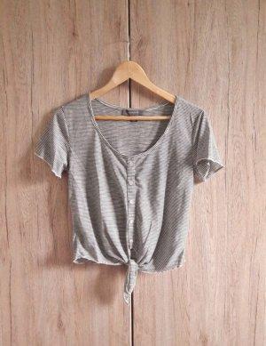 Primark Camisa recortada negro-blanco