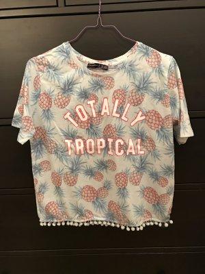 Primark Croptop T-Shirt S 36 Blau mit Ananas Motiven