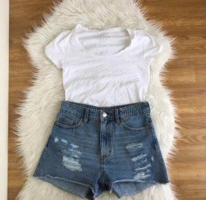 Primark Damen T-shirt Weiß Gr. 36 Basic Stretch Scoop