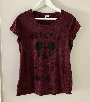 Primark Disney Micky Top Shirt Gr. S/ M weinrot Selfie neu