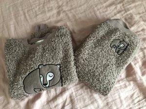 Primark Schlafanzug Pyjama braun Bären flauschig 36 S