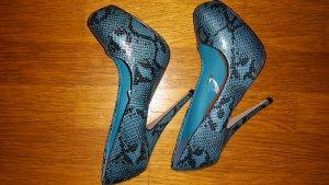 Primark Schuhe Pythonmuster Türkis High Heel in 37 neu Pumps Plateau