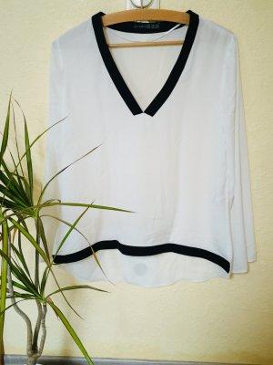 Primark V-Neck Shirt white-black
