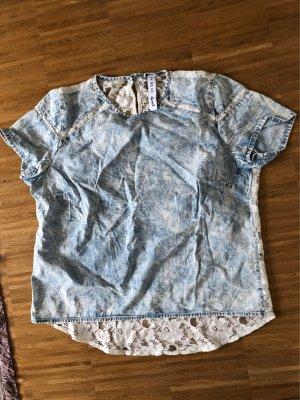 Primark T-Shirt blau Jeans mit spitze weiß 38 M