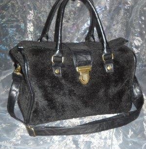Primark Tasche Shopper Bag Handtasche Henkeltasche schwarz Plüsch Schultergurt