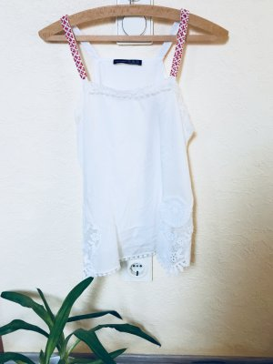 Primark Flounce Top white-red