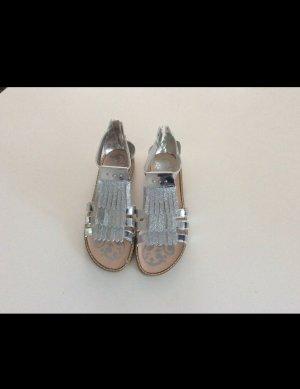 Sandalo con tacco alto argento