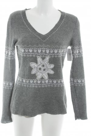 Princess goes Hollywood Cashmerepullover grau-weiß Blumenmuster Casual-Look