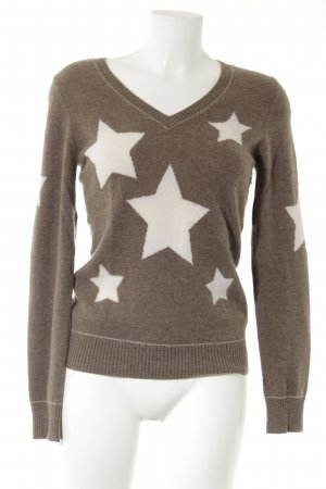 Princess goes Hollywood Strickpullover graubraun-hellbeige Sternenmuster