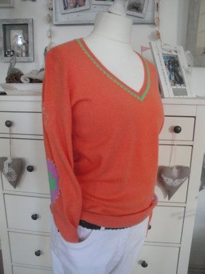 Princess goes Hollywood*Traum Kaschmir Pullover*mandarine orange-grün-lila*42