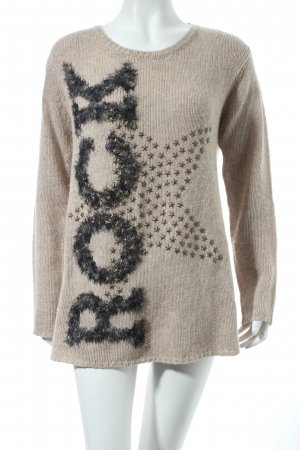 Princess goes Hollywood Wollpullover schwarz-beige Sternenmuster Nietenelemente