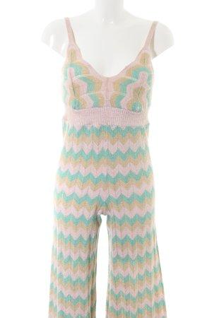 Princess Jumpsuit türkis-creme Allover-Druck Street-Fashion-Look