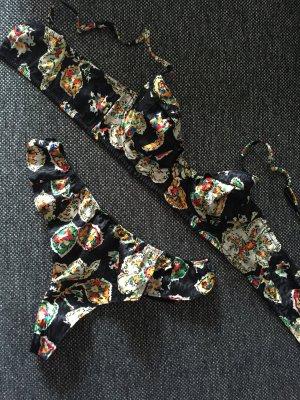 Princesse Tam Tam BH und String, 75B und T2 (S), schwarz, gemustert, retro Look