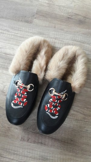 Princetown Shearling Mule Mules Pantos Fell Loafer Slipper Slipon Snake 40