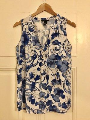 Print-Bluse H&M Blau weiß