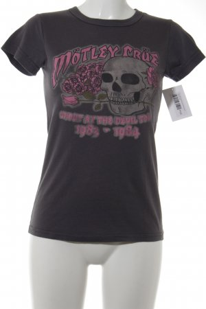 Print-Shirt anthrazit-pink Motivdruck Casual-Look