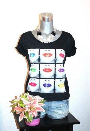 Print Shirt Gr.38 Tshirt Schwarz Bunt