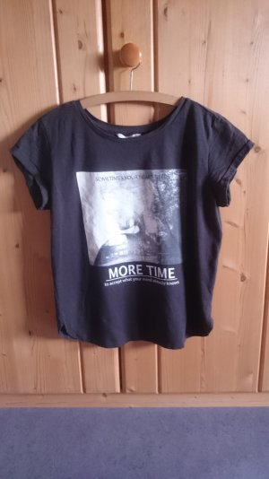 Print Shirt grau anthrazit weiß 34 36 XS S