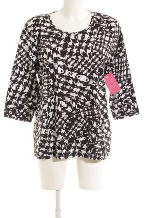 Camiseta estampada negro-blanco estampado con diseño abstracto look casual