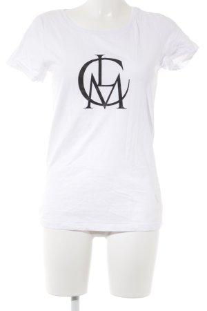 Camiseta estampada blanco-negro estilo minimalista
