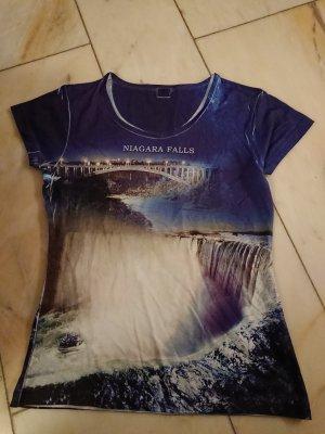 Print Shirt white-dark blue