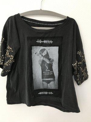 Religion T-shirt donkergrijs-brons